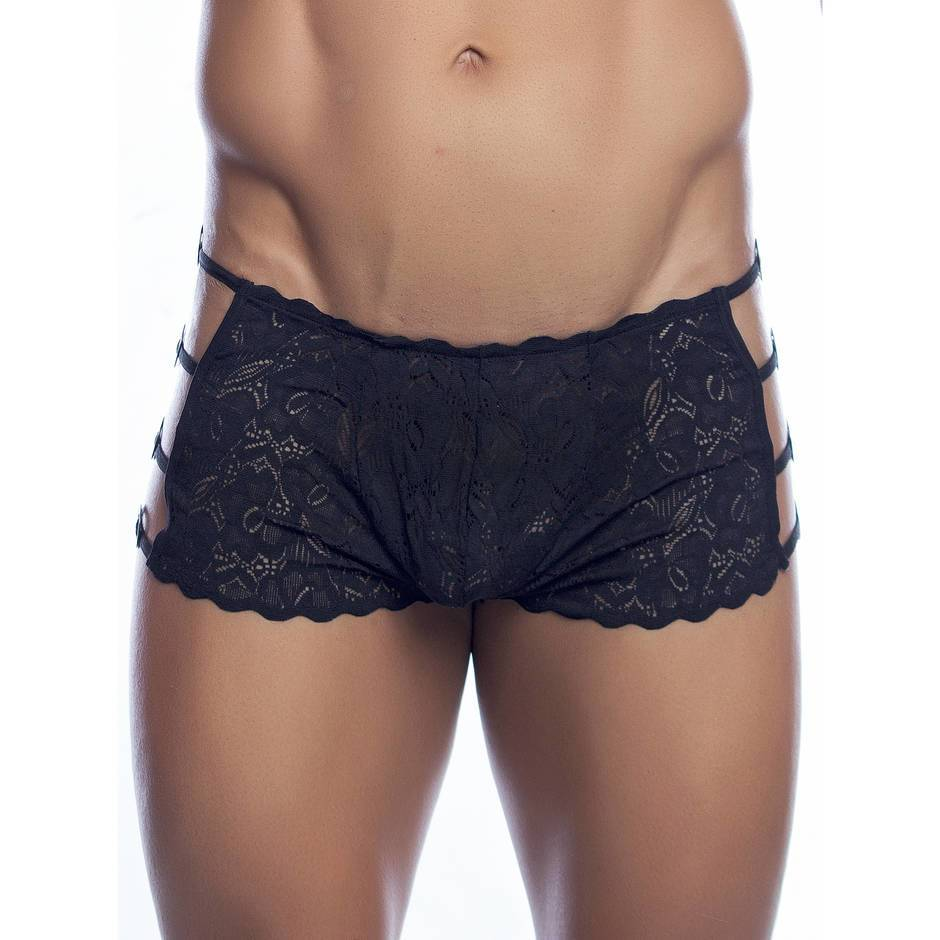 Malebasics Mens Black Lace Open Side Boxers