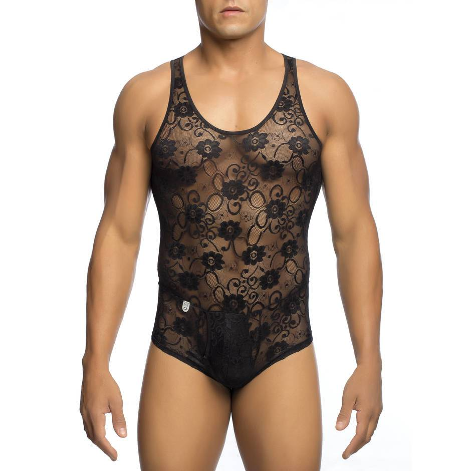 Malebasics Men's Black Lace Bodysuit with Zip Back