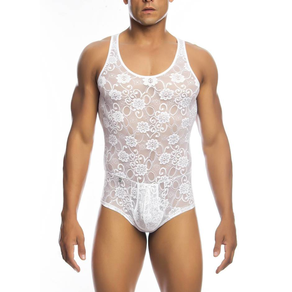 Malebasics Men's White Lace Bodysuit with Zip Back