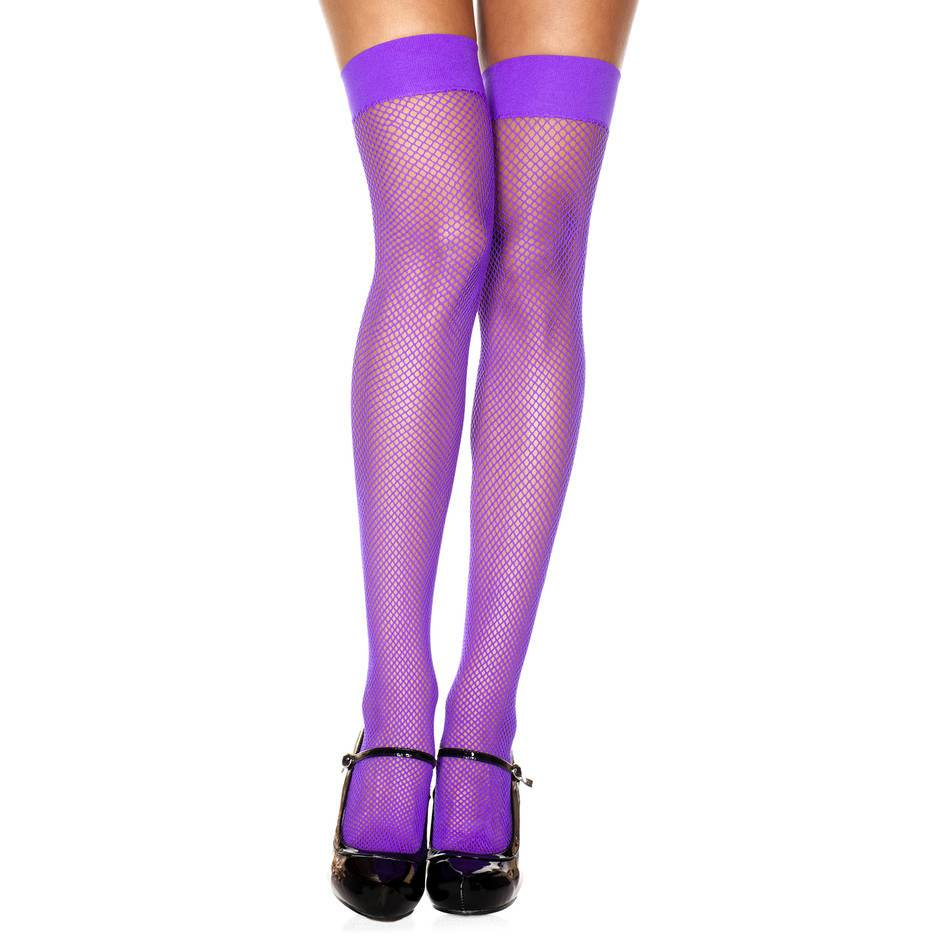 Music Legs Purple Fishnet Thigh High Stockings