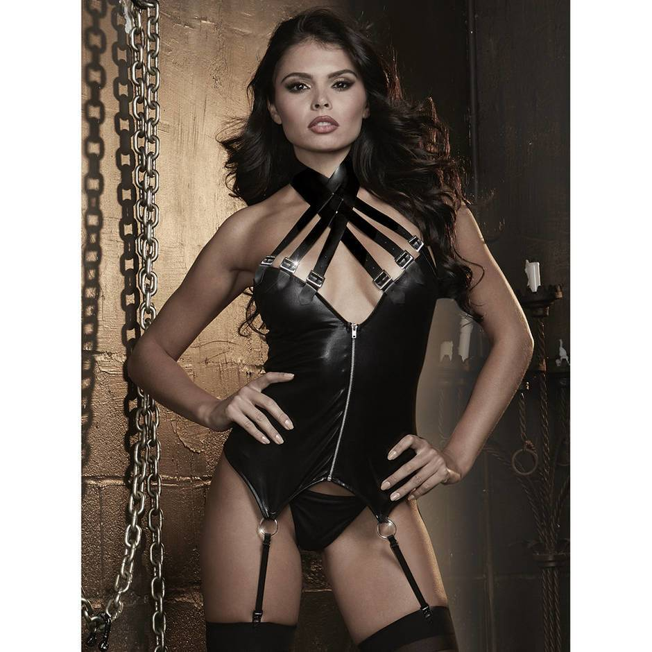 Dreamgirl Wet Look Zip Front Bustier with Buckle Choker
