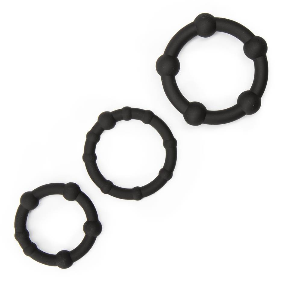 Lovehoney Get Hard Beaded Silicone Cock Ring Set (3 Pack)