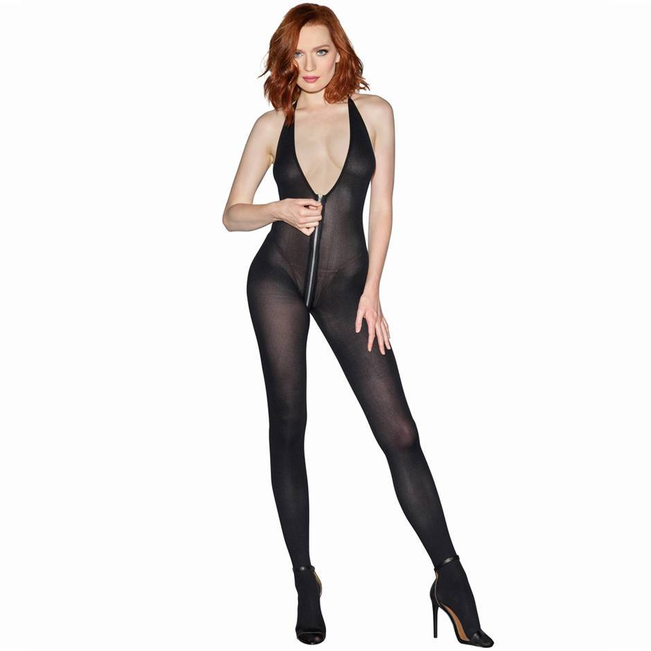 Dreamgirl Access All Areas Opaque Catsuit with Full Zip Crotch