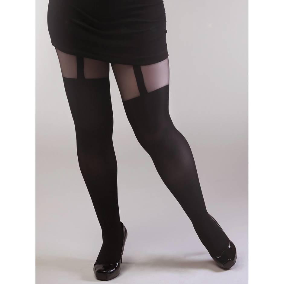 Collants effet porte-jarretelles grande taille, Miss Naughty