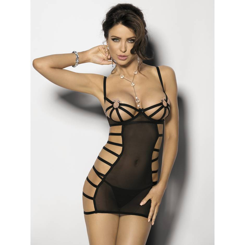 Anais Mistra Sheer Cage Chemise with Metal Ring Detail