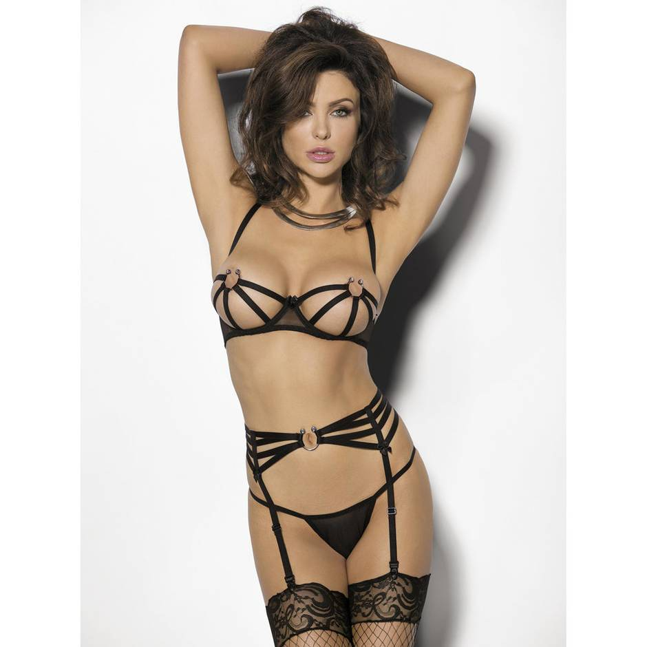 Anais Yasena 3 Piece Cage Cup Bra Set with Metal Ring Detail