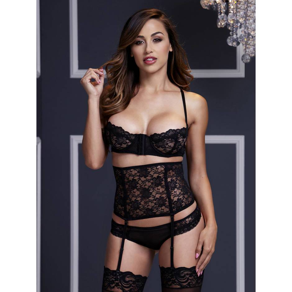 Baci Lingerie Peek-a-Boo Lace Bra with Cincher and Thong