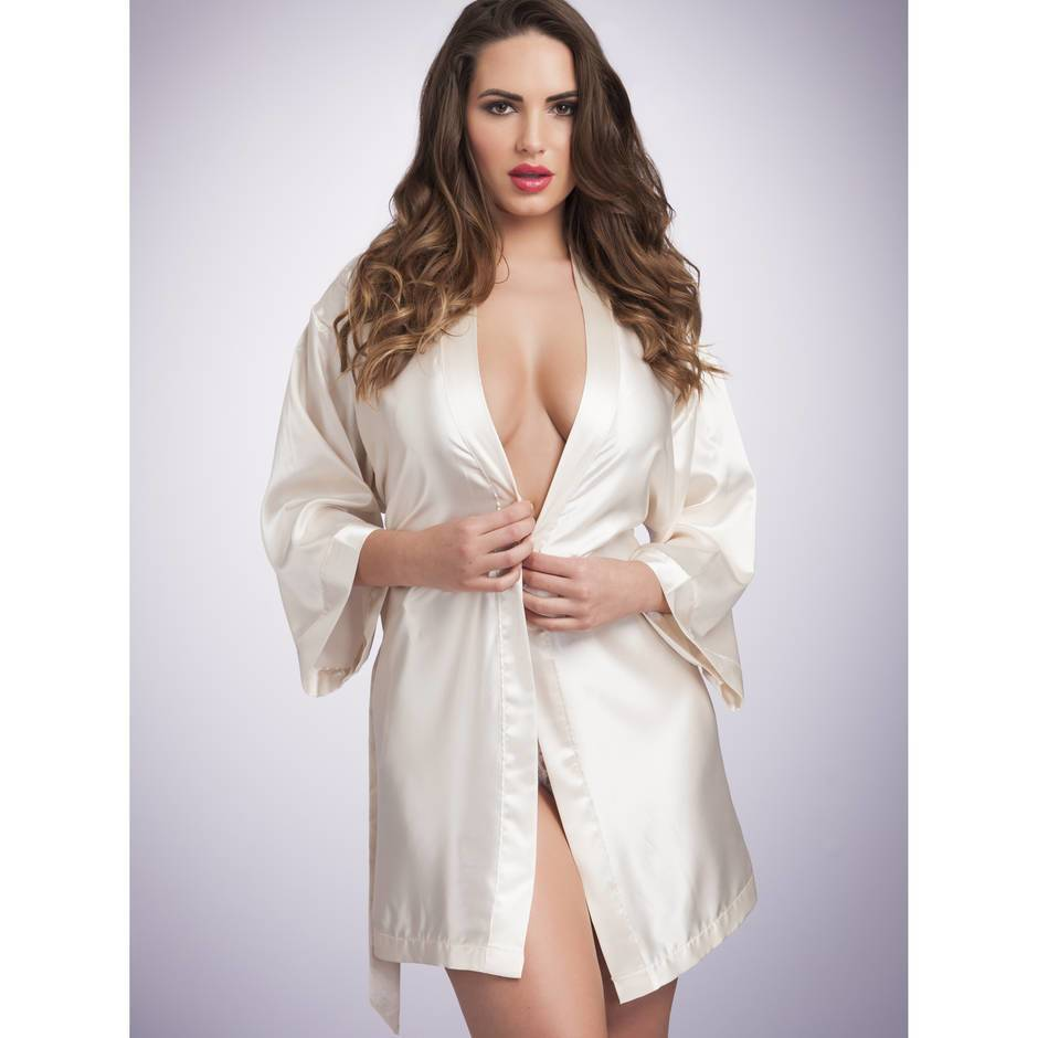 Lovehoney Short Satin Robe Ivory