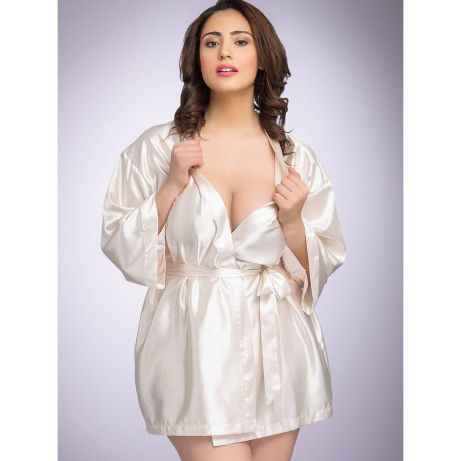 Lovehoney Plus Size Short Satin Robe Ivory