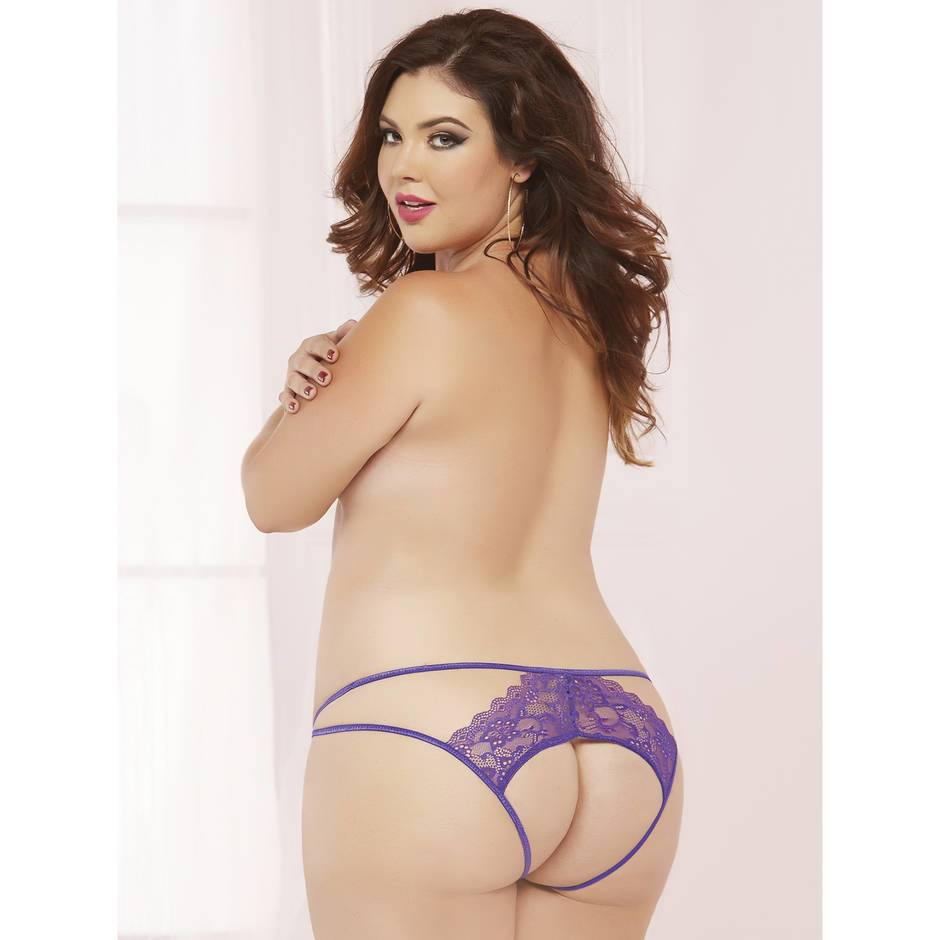 Seven 'til Midnight Plus Size Lace Open Back Panty