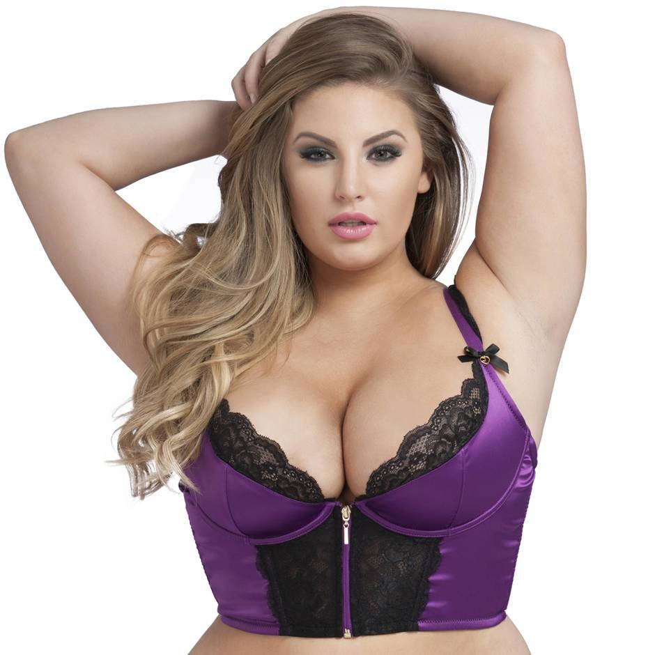 Lovehoney Plus Size Treasure Me Purple Longline Underwired Bra