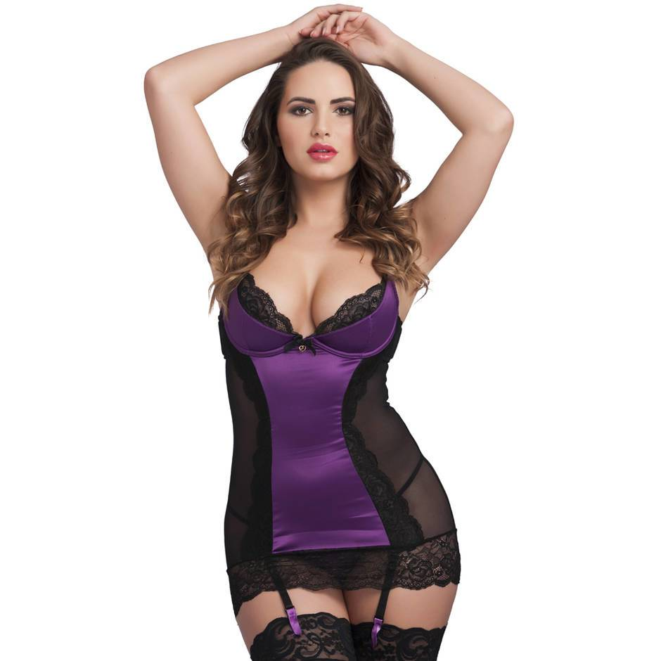 Lovehoney Purple Underwired Plunge Chemise Set