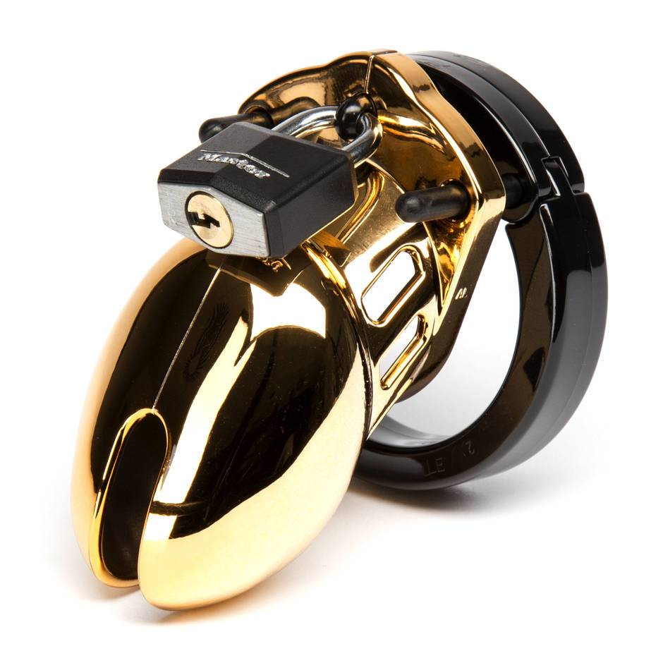 CB-6000S Designer Gold Short Male Chastity Cage Kit