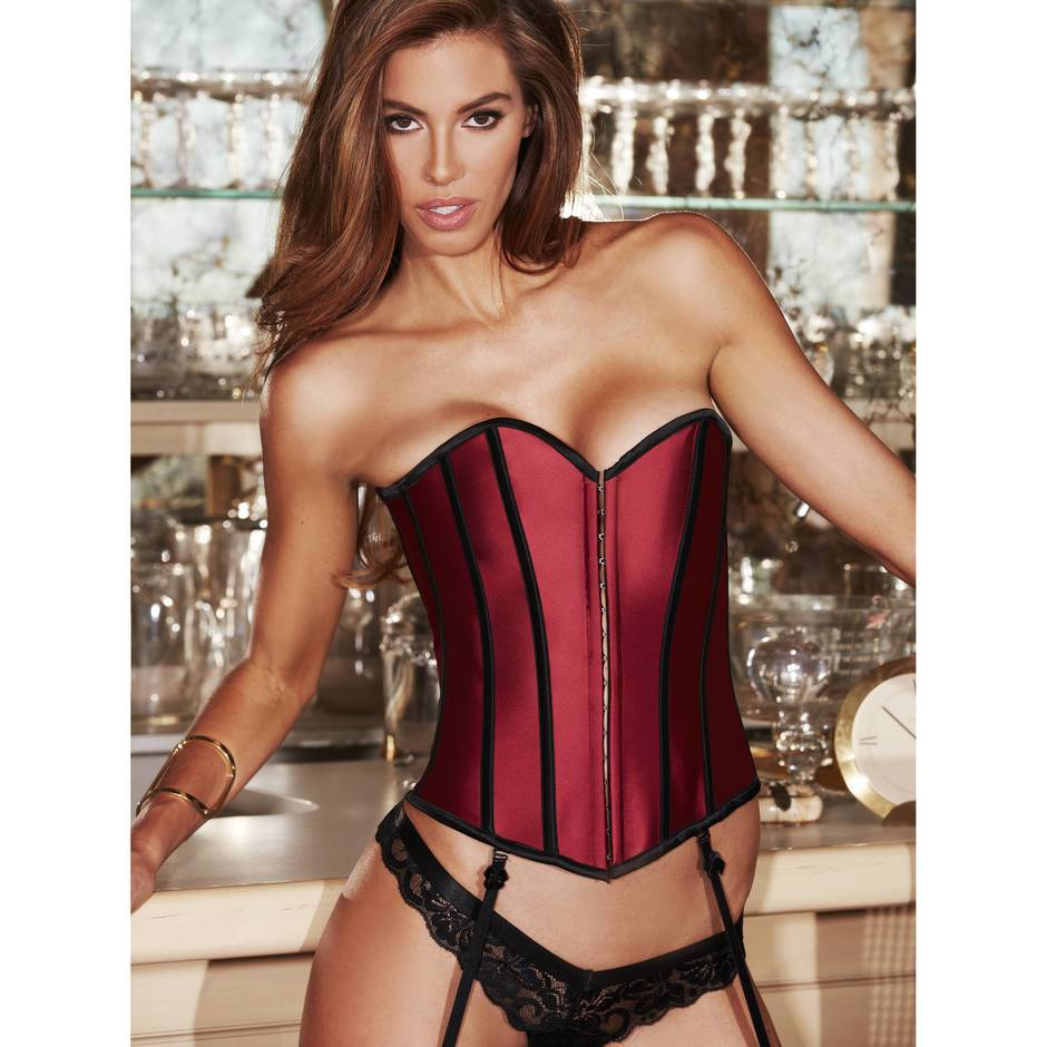 Baci Lingerie Red Satin Steel Boned Corset