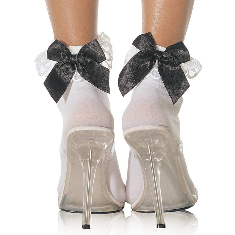 Leg Avenue Opaque Ankle Socks with Lace and Bow Trim