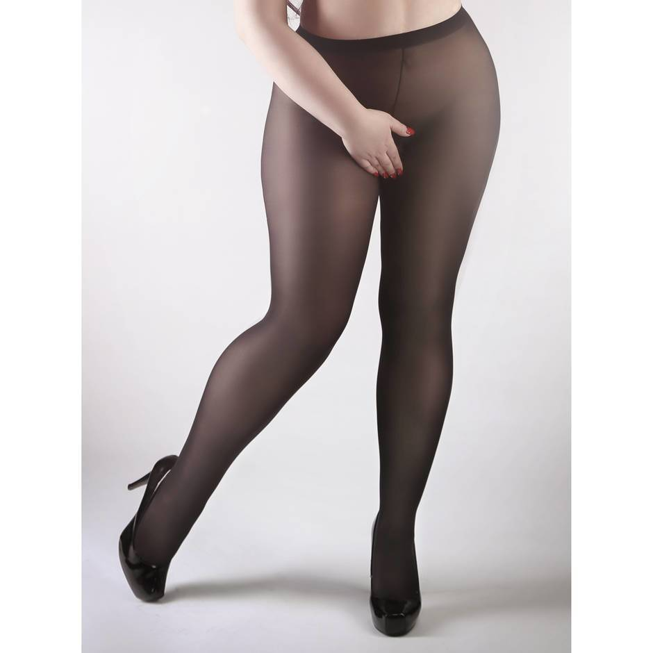 Miss Naughty Plus Size Opaque Crotchless Pantyhose