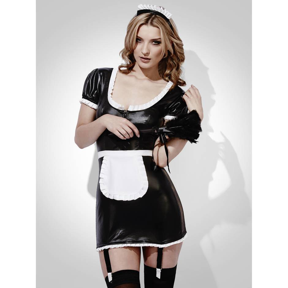 Fever Whole Night French Maid Wet Look Outfit