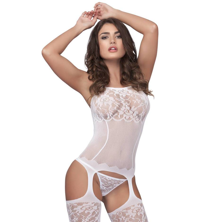 Bodystocking Blanco de Encaje y Rejilla Lovehoney