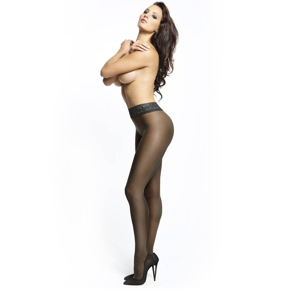 3ac23c6fbee13 MissO 20 Denier Black Crotchless Tights with Lace Top | Lovehoney