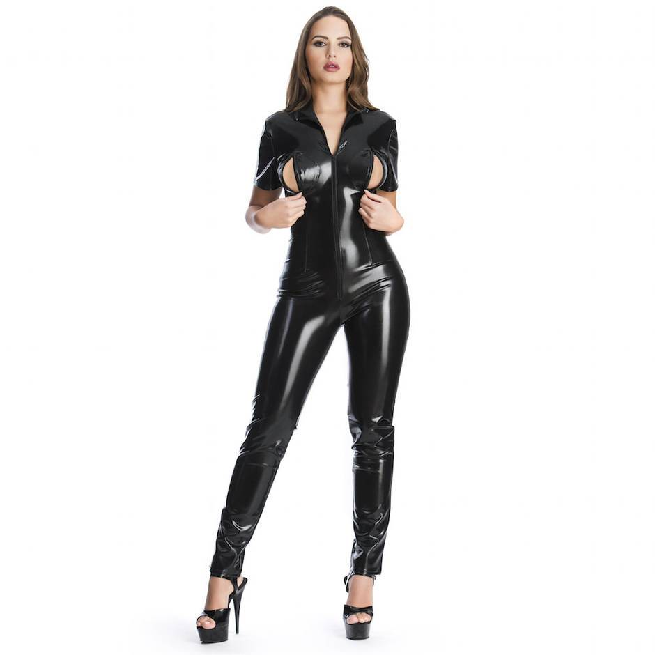 Easy-On Latex Catsuit with Bust Zippers