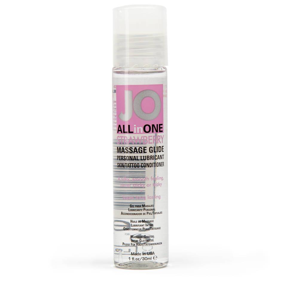 System JO Massage All-in-One Strawberry Personal Lubricant 1.0 fl.oz