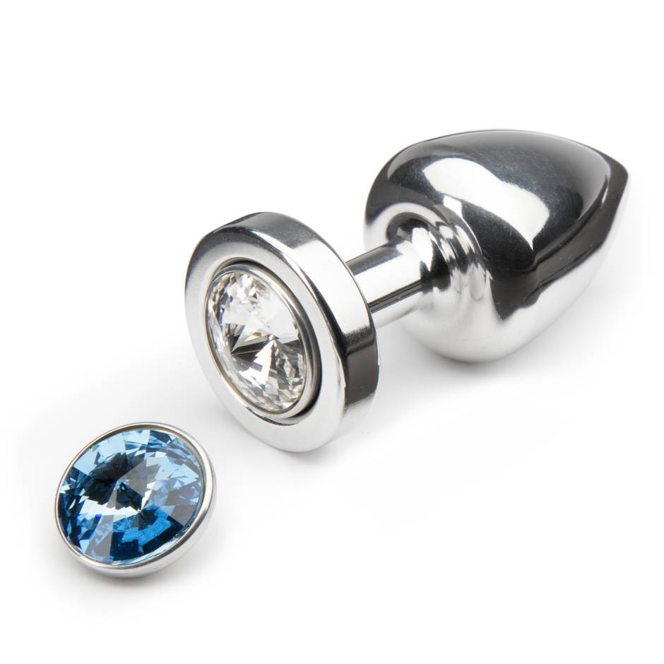 Diogol Aluminium Petite Butt Plug with Swarovski Crystals Clear & Blue