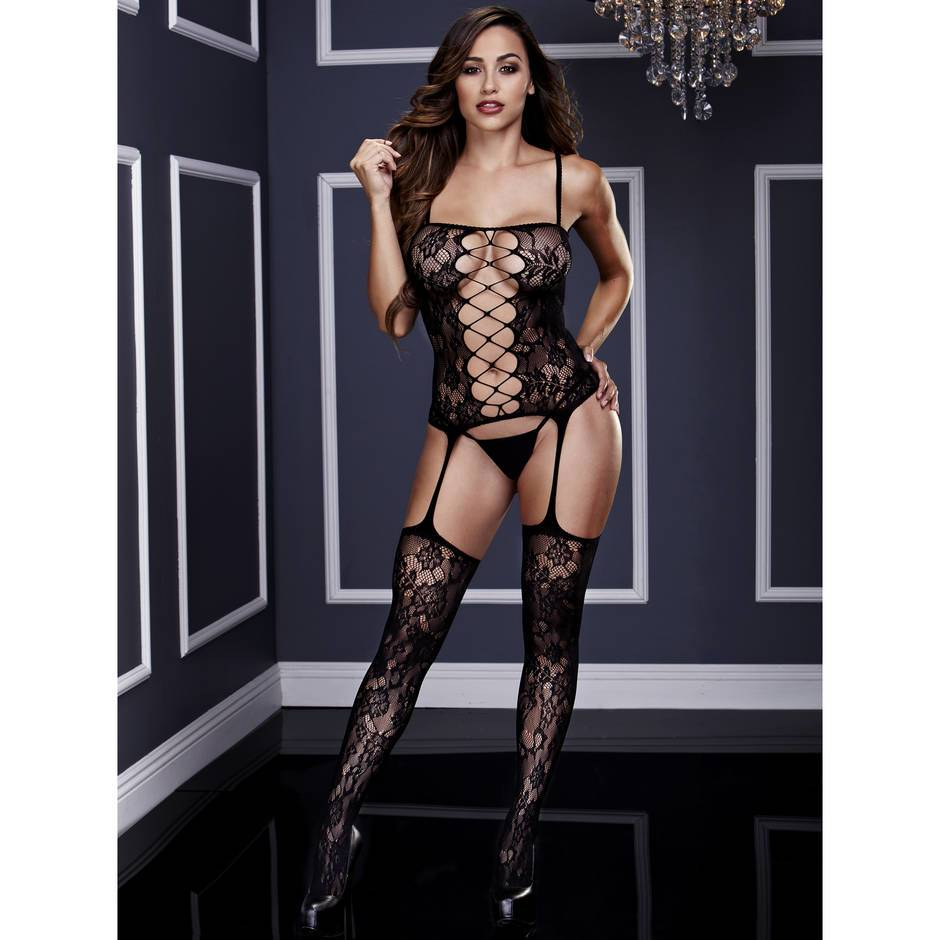 Corset-Style Crotchless Suspender Bodystocking