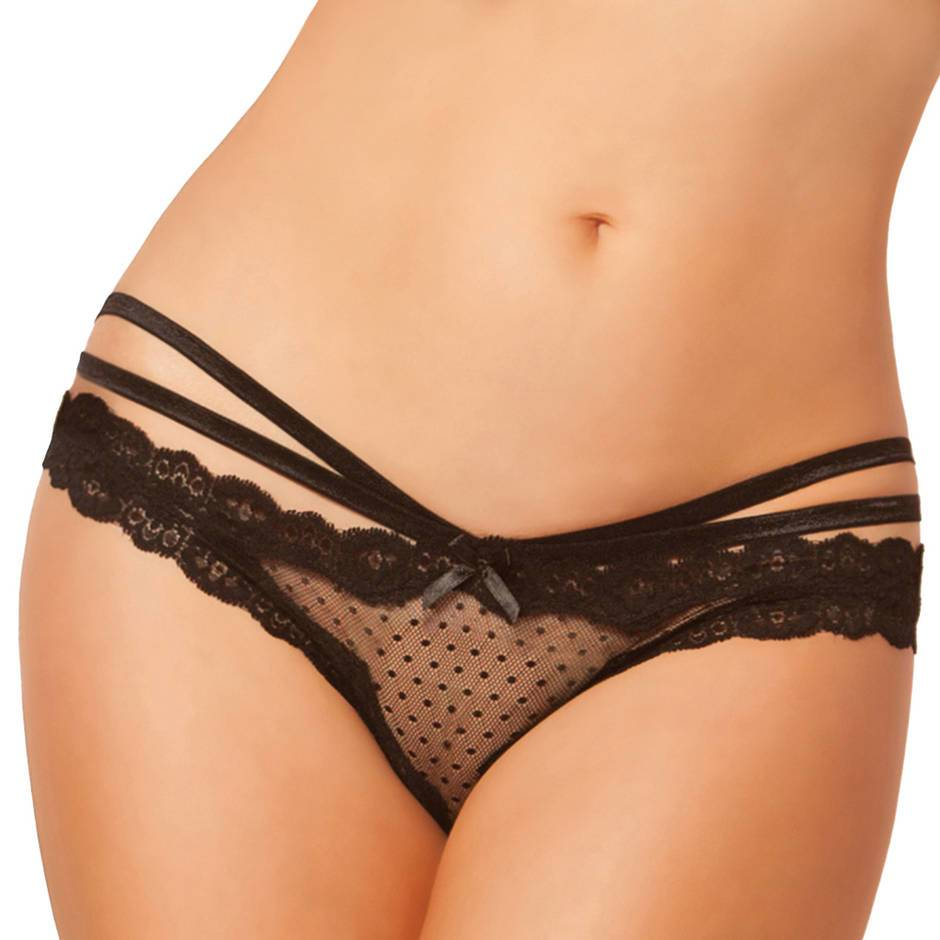 Seven 'til Midnight Crotchless Lace and Mesh Cage Brief
