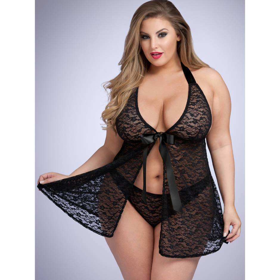Lovehoney Plus Size Unwrap Me Babydoll in Black