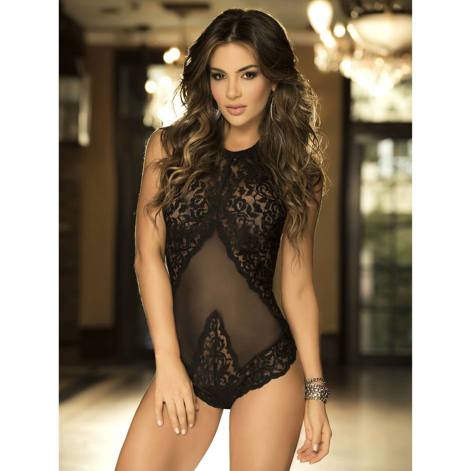 Mapale Lace and Mesh Corset-Back Teddy