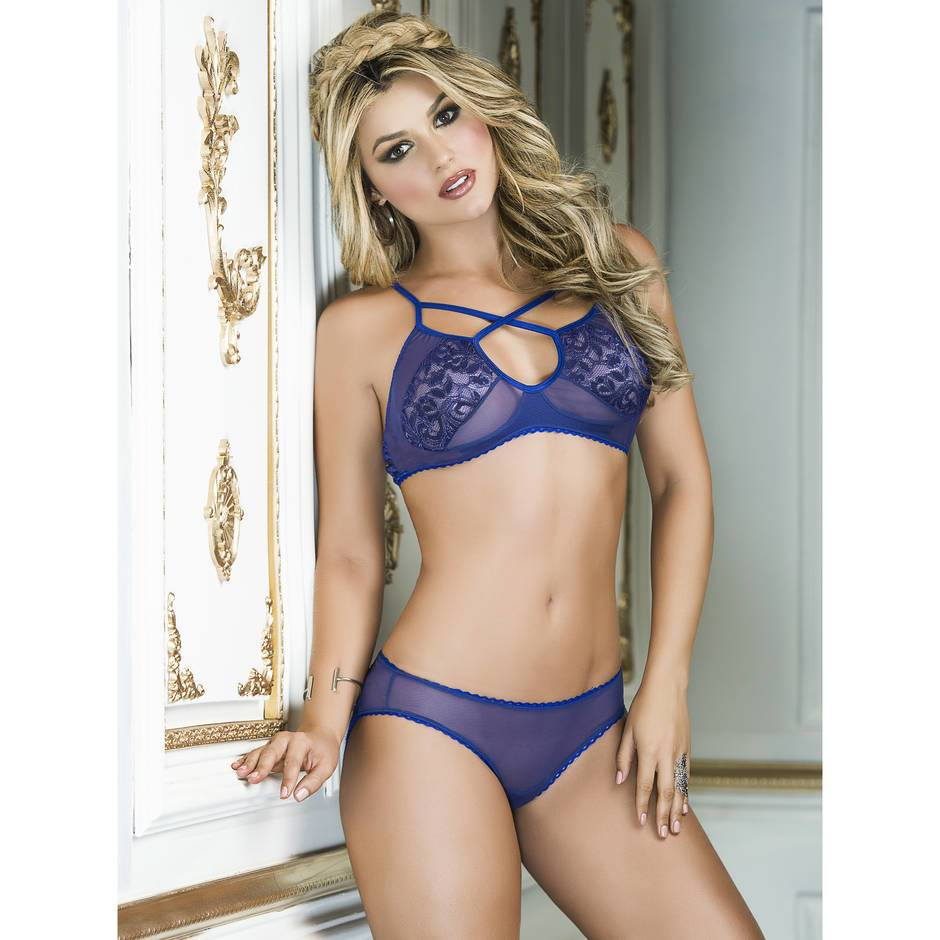Mapale Lace and Mesh Bra Set with Open-Back Knickers