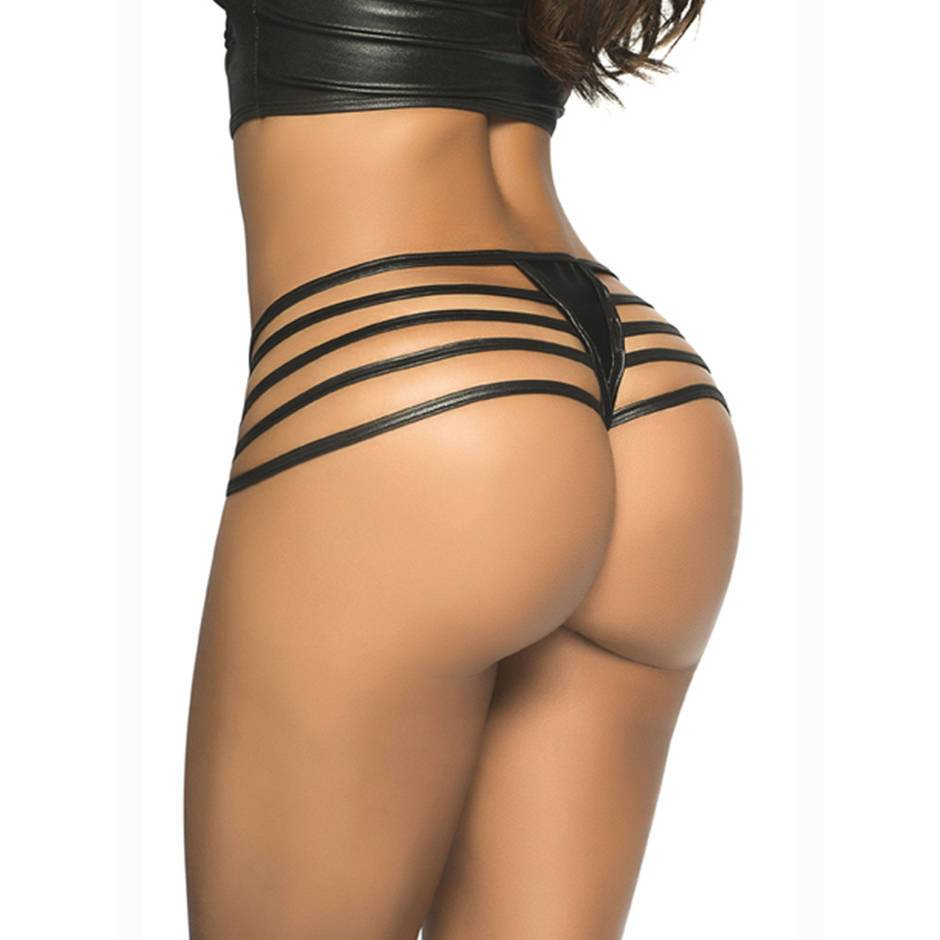 Mapale Black Wet Look Strappy Brief