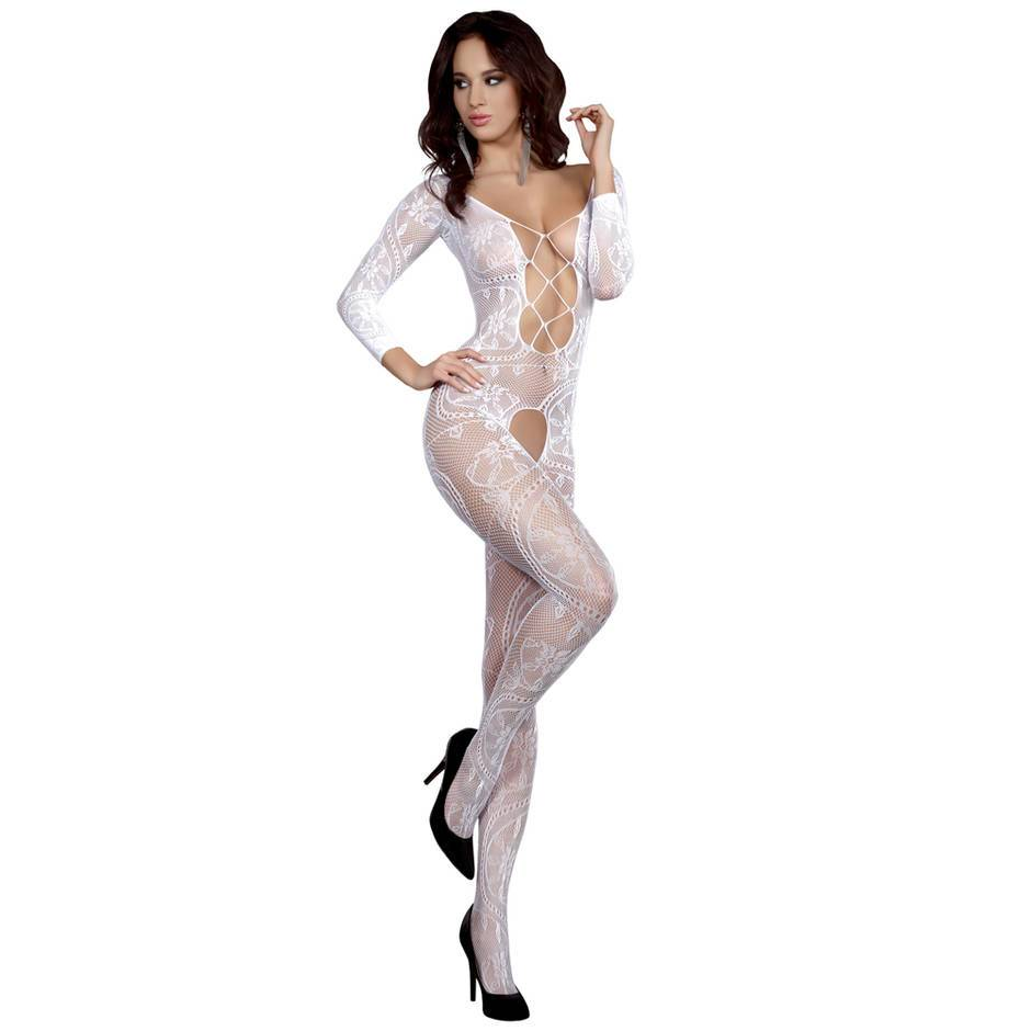 Livia Corsetti Zita White Long Sleeved Floral Lace Crotchless Bodystocking