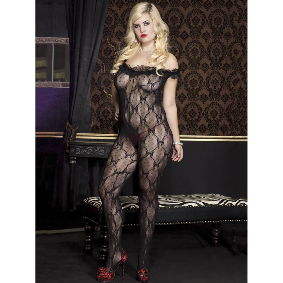 Music Legs Plus Size Off the Shoulder Crotchless Bodystocking