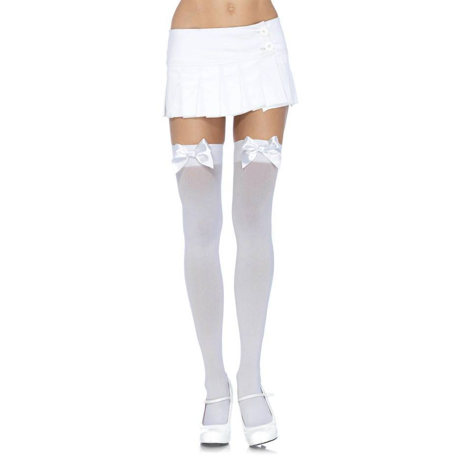 Leg Avenue Plus Size Opaque Thigh Highs with Satin Bow