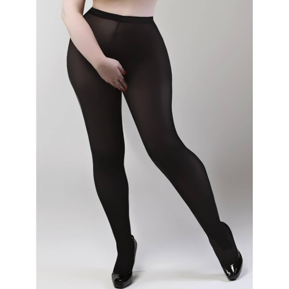 Miss Naughty Plus Size Crotchless 100 Denier Blackout Opaque Pantyhose