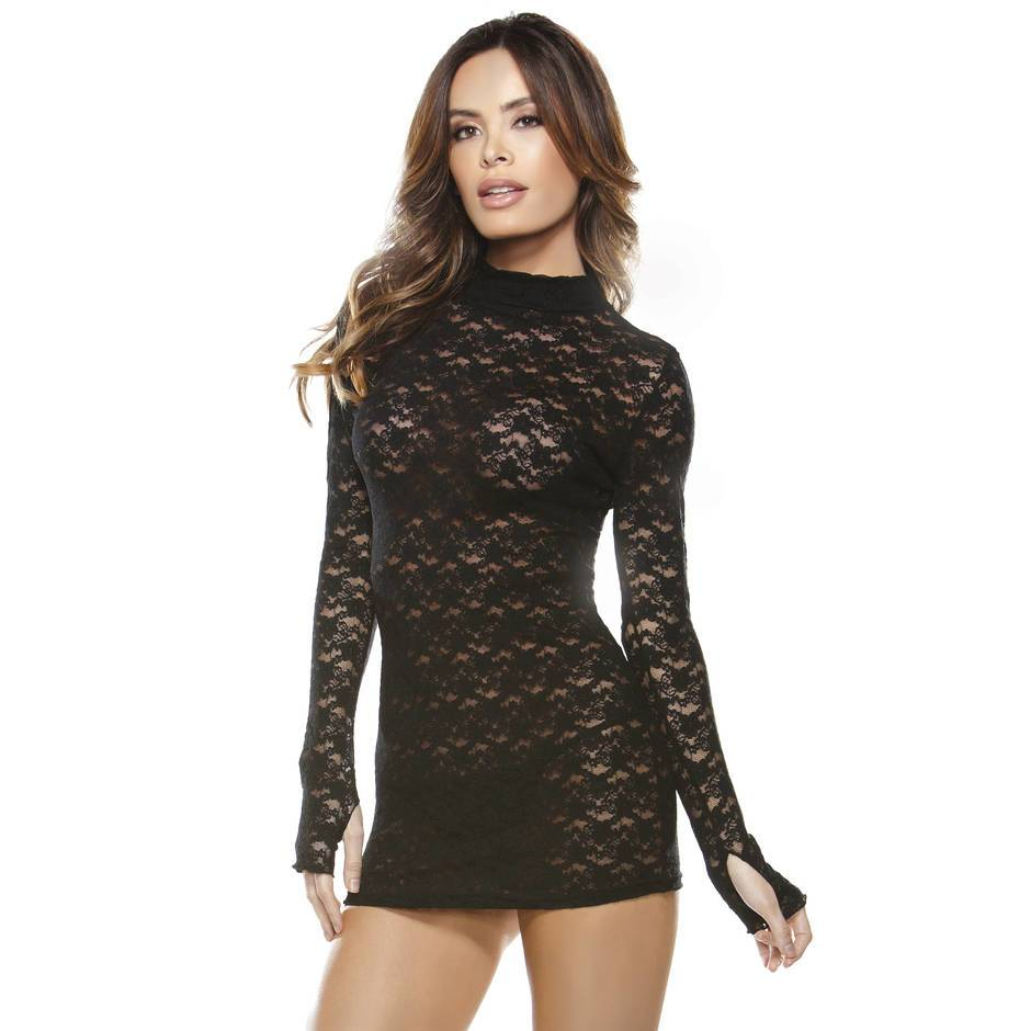 Fantasy High Neck Lace Mini Dress with G-String