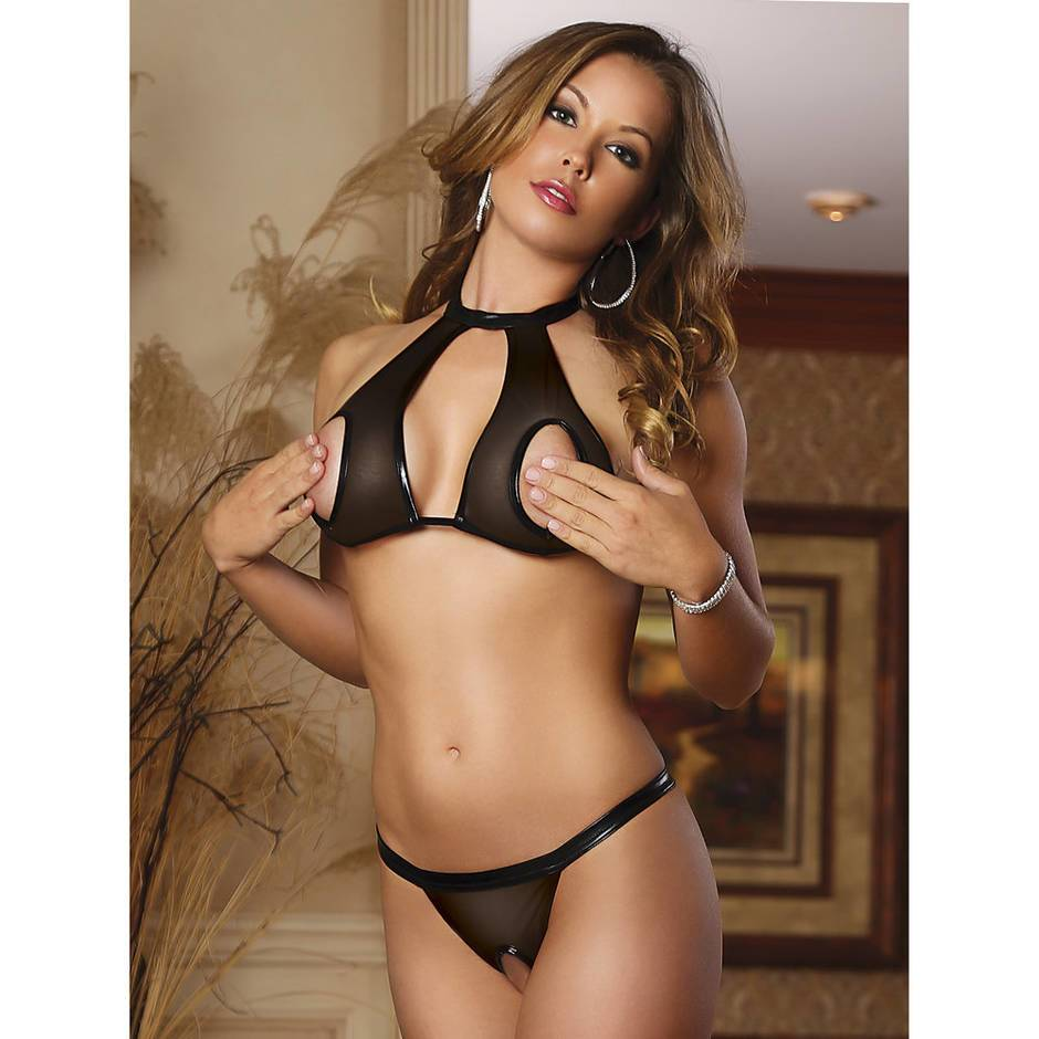 Exposed Access All Areas Wet Look and Mesh Halter Bra Set