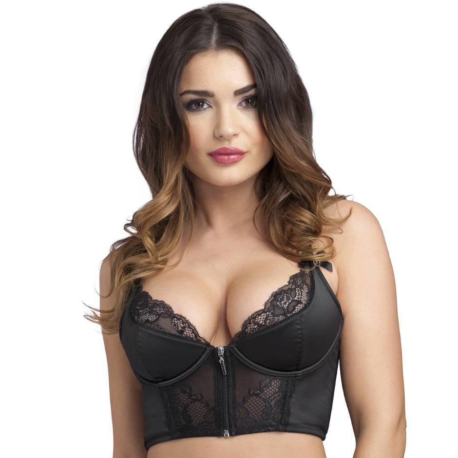 Lovehoney Front-Fastening Black Satin Longline Bra