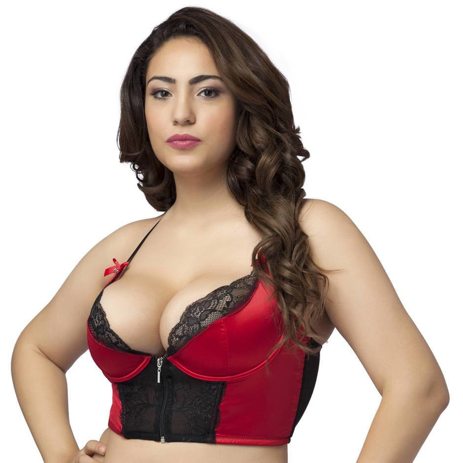 Lovehoney Plus Size Front-Fastening Satin Longline Bra Red