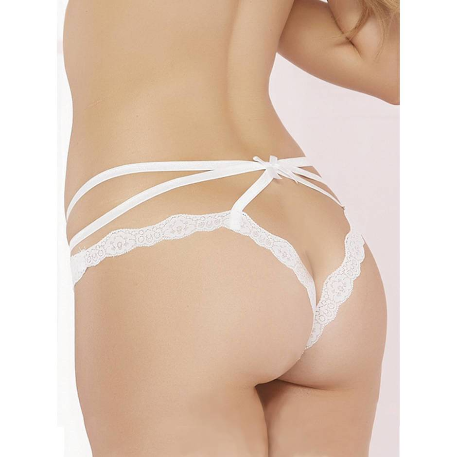 Seven 'til Midnight Crotchless White Lace and Mesh Cage Brief