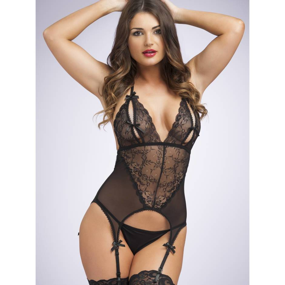 Lovehoney Peek-A-Boo Merry Widow Black Bustier