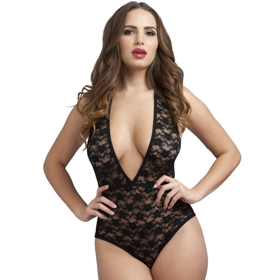 Lovehoney Crotchless Deep Plunge Black Lace Body