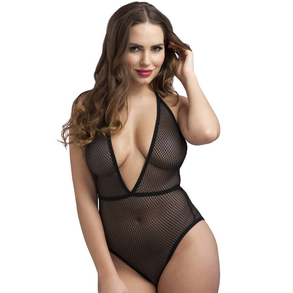 Body fendu décolleté plongeant en maille noir, Lovehoney