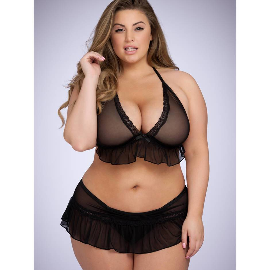 Lovehoney Plus Size Mesh Frilled Bra and Knicker Set