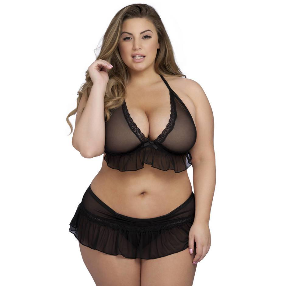 Lovehoney Plus Size Sheer Ruffle Bra & Crotchless Skirted Thong Set
