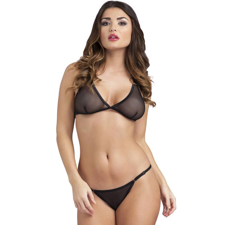 Ensemble string fendu soutien-gorge triangle transparent, Lovehoney