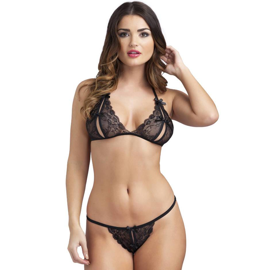 Lace Peek-a-Boo Bra and Crotchless G-String