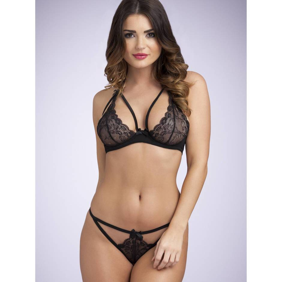 Lovehoney Underwired Lace Triangle Bra & Crotchless G-String Set