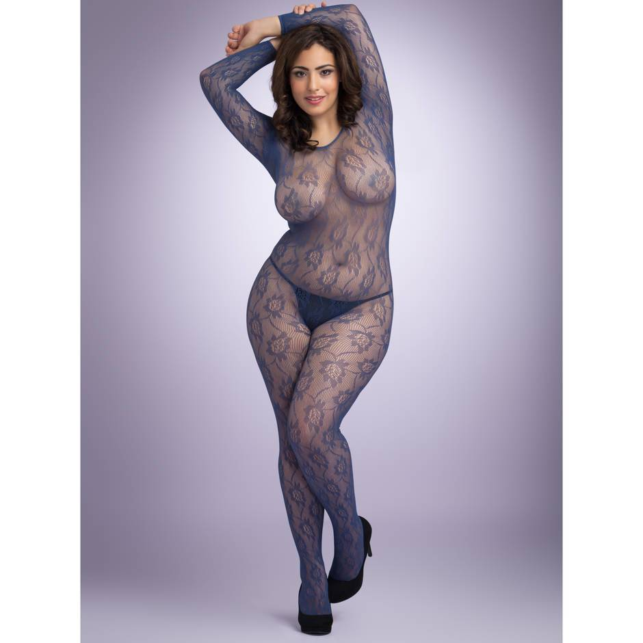 Lovehoney Plus Size Crotchless Blue 3/4 Sleeve Lace Bodystocking